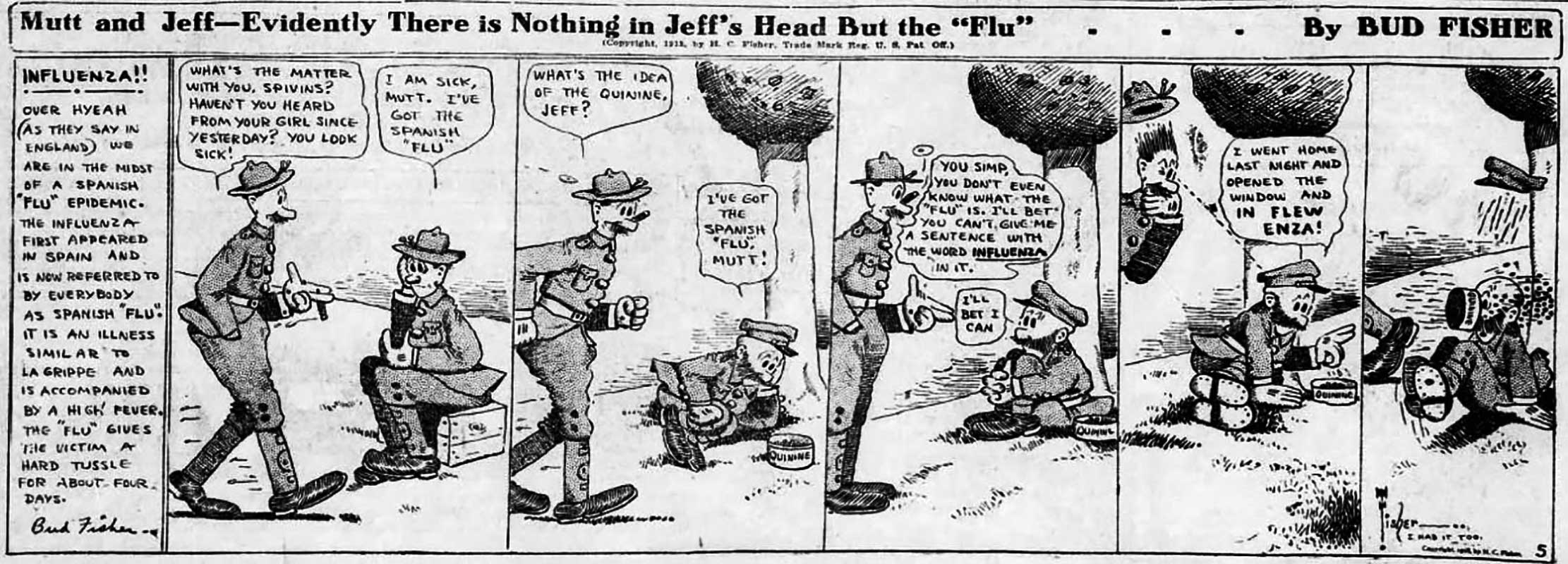 The Spanish Flu in Comics Strips, 1918